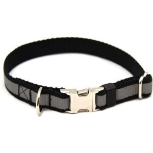 Black Reflective Dog Collar with Metal Buckle